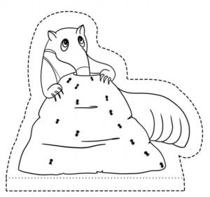 Desenho de um tamanduá com o nariz no formigueiro para colorir