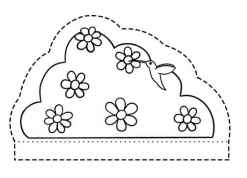 Desenho de uma moitinha com flores e um beija-flor