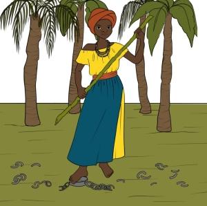 Desenho dee uma mulher preta de turbante com um bambu nas mãos como se estivesse se preparando para uma luta.